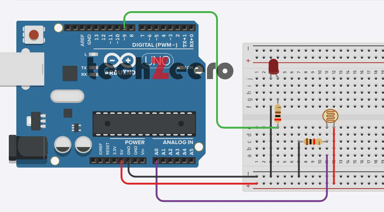 Cicuit Diagram of LDR and LED with Arduino