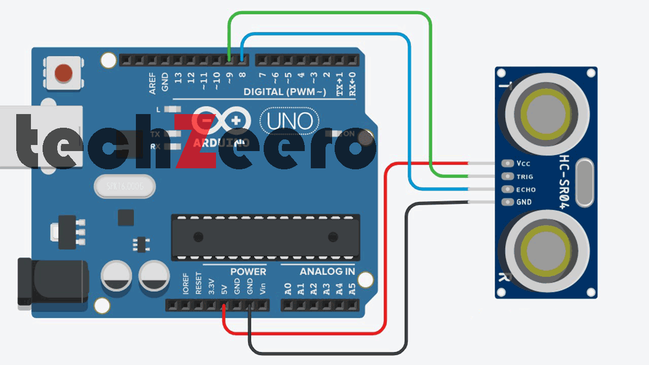 Circuit Diagram of Ultrasonic Sensor With Arduino