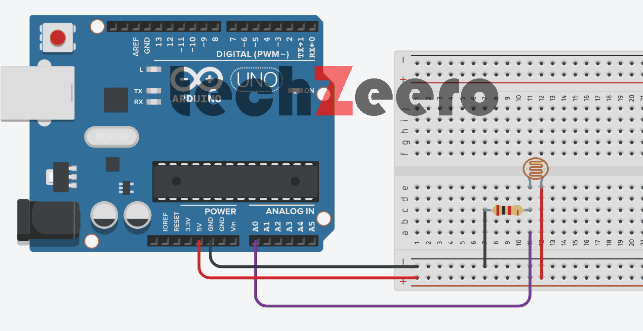 Circuit Diagram of LDR with Arduino