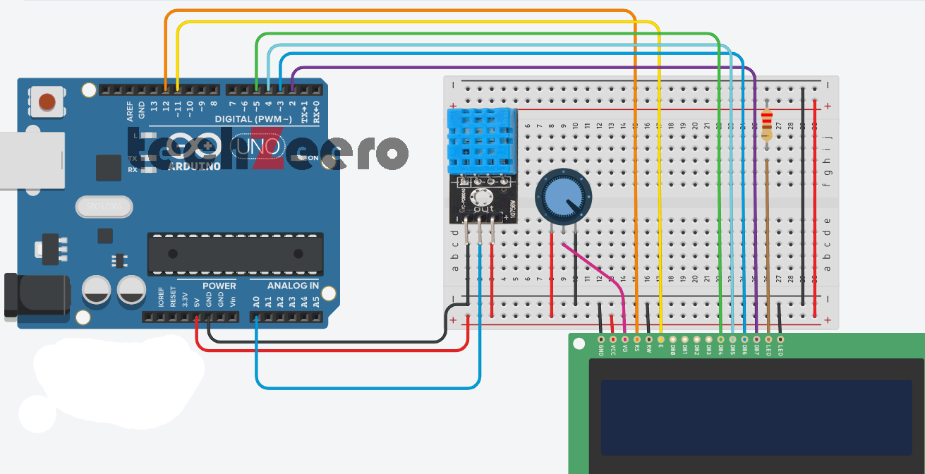 Circuit of DHT11 with LCD Display