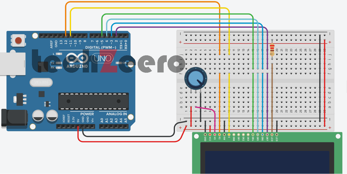 Circuit Diagram of LCD Display with Arduino