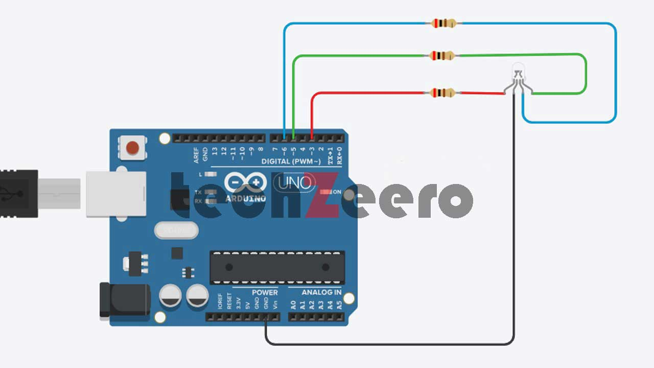 Circuit Diagram for RGB LED with Arduino