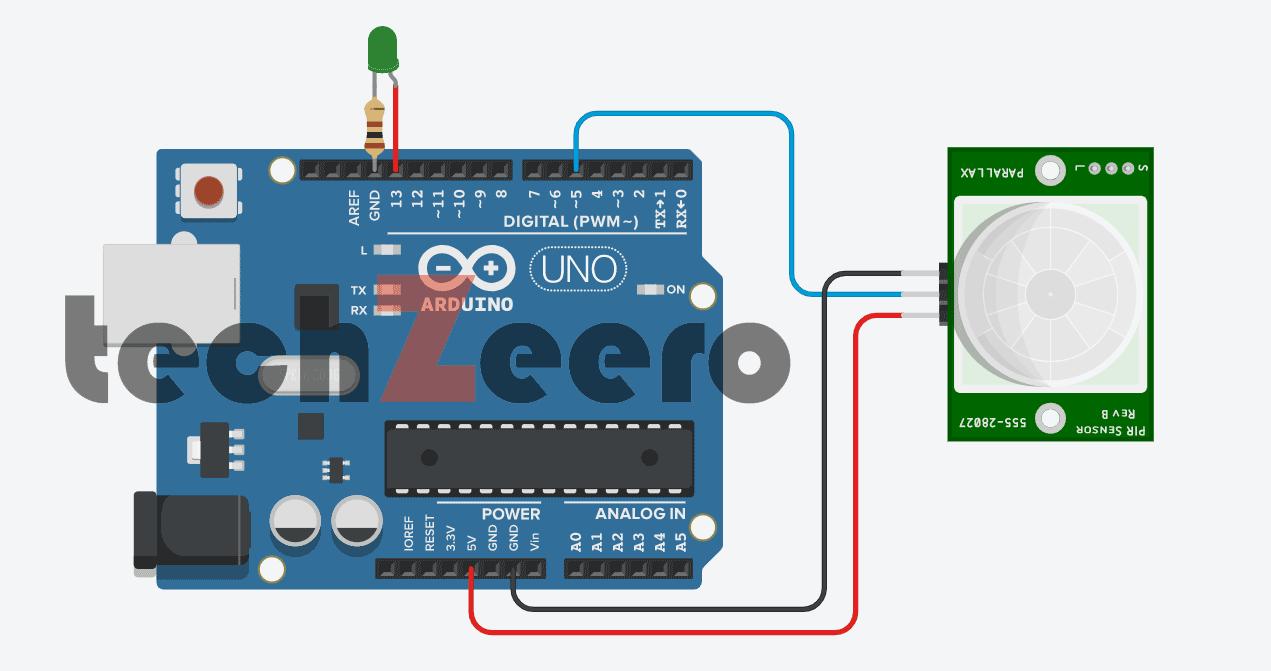 Circuit Diagram For PIR Motion Sensor with Arduino