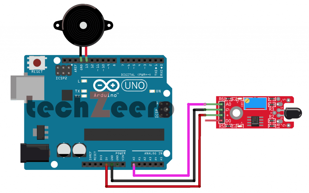 Circuit Diagram of Flame Sensor with Arduino Using Analog Pin