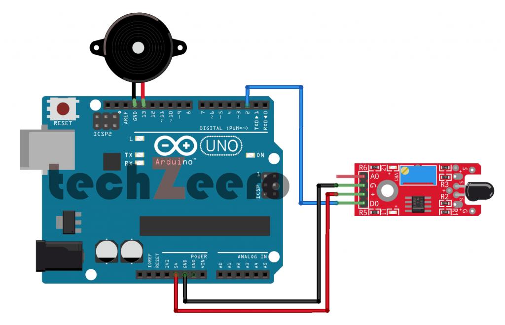 Circuit Diagram of Flame Sensor with Arduino Using Digital Pin