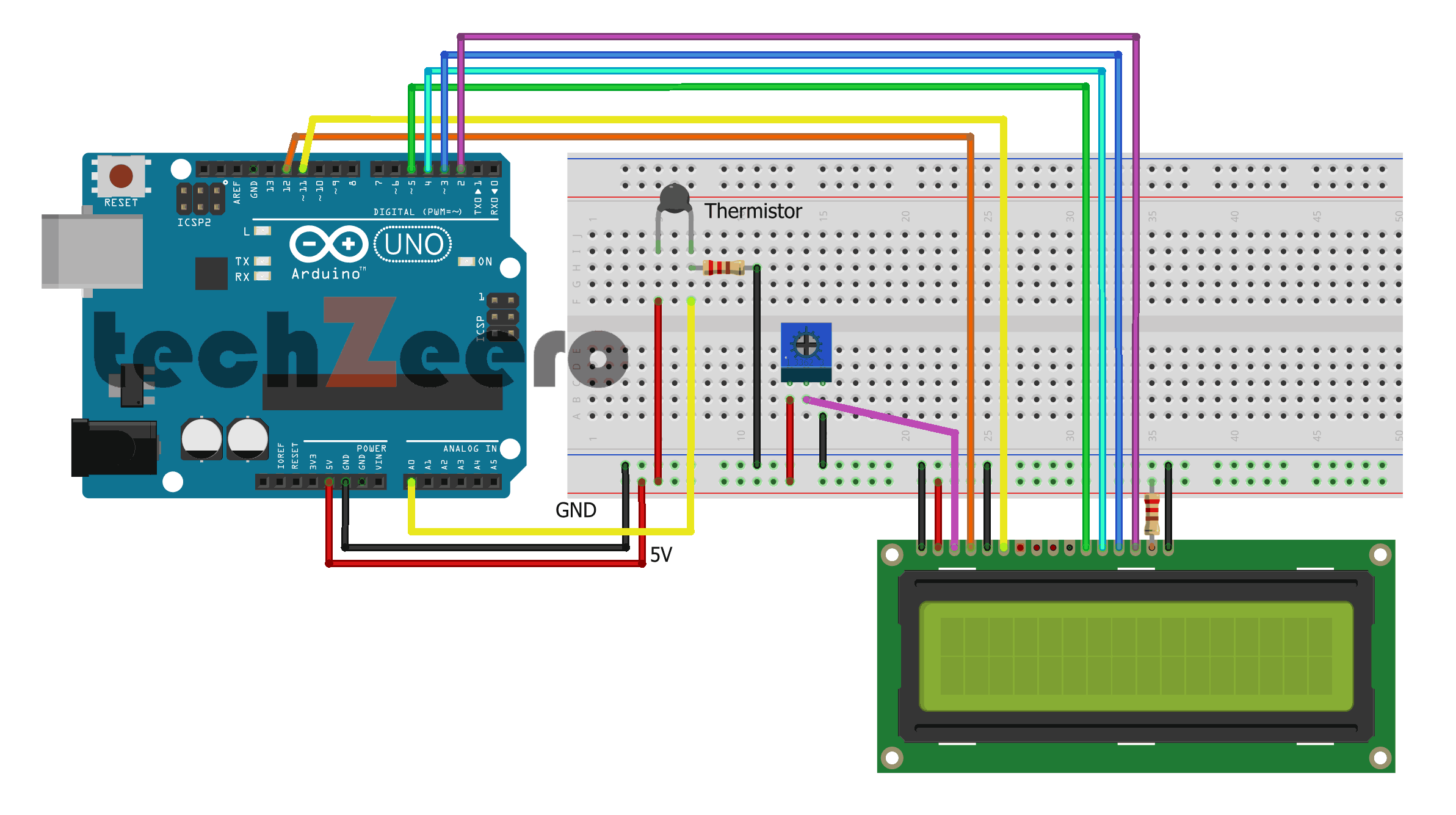 Circuit Diagram For Thermistor With LCD Display