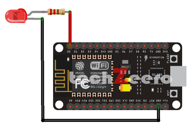 nodemcu and led circuit diagram