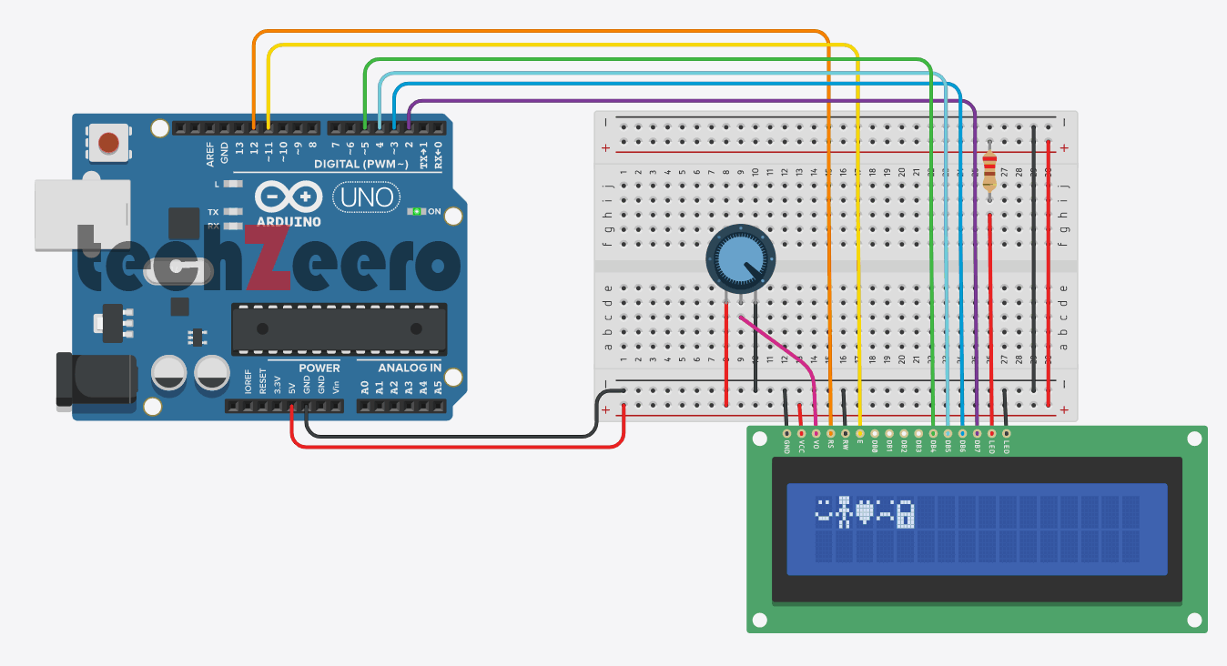 Circuit Diagram for Custom Characters on LCD