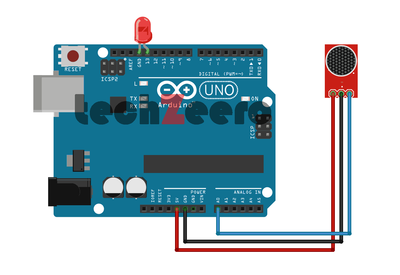 Circuit Diagram for Sound Sensor with Arduino
