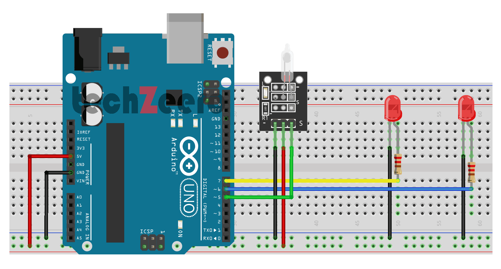 Circuit Diagram for Tilt Sensor with Arduino