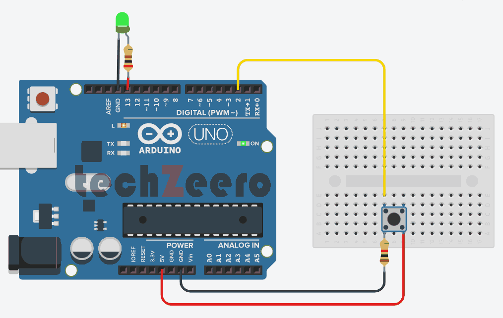 Circuit Diagram of Push Button with Arduino