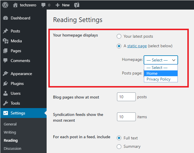change home page in wordpress